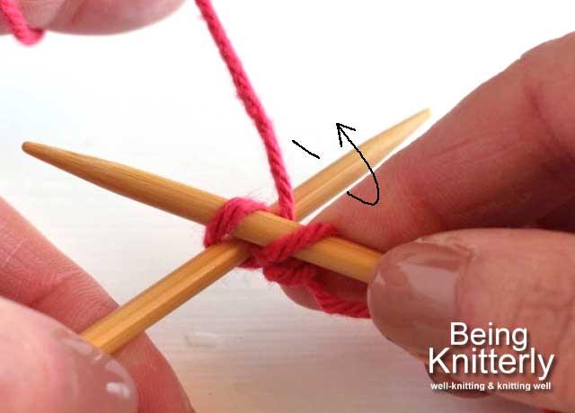 Step 7: Move yarn clockwise round left-hand needle