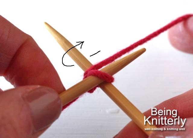 Step 2: Move yarn clockwise round right-hand needle