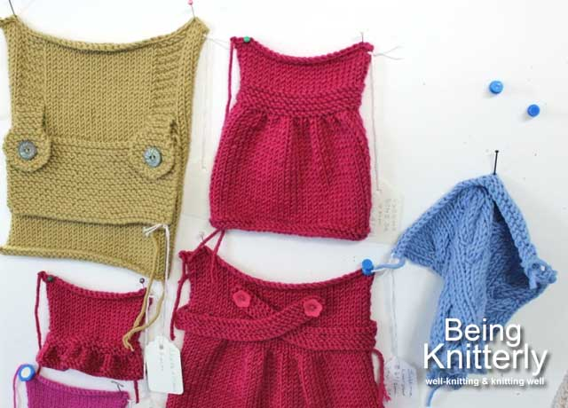 Hand knitted swatches showing ideas for garments