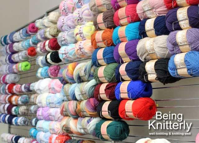 Wall of yarn at Sirdar Yarns