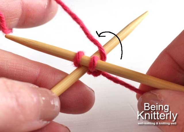 Step 7: Move yarn anticlockwise round left-hand needle