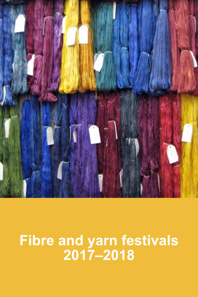 Display of blue, burgundy and yellow hanks of yarn