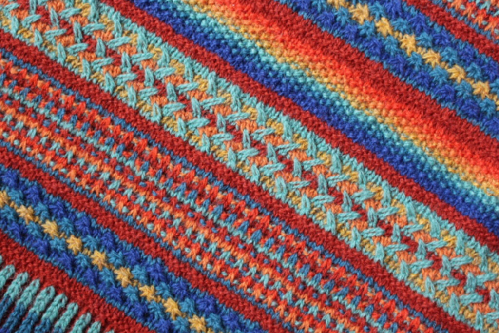 Detail of stitch patterns used for Painterly shawl