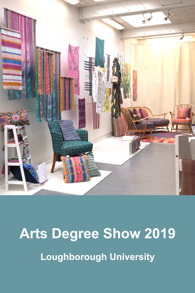 Display of students' work at the Arts Degree Show, Loughborough University 2019