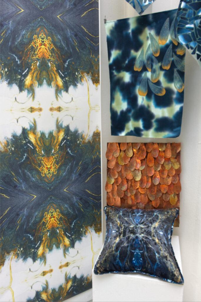 Display of printed textiles by Ella Williams-Brown