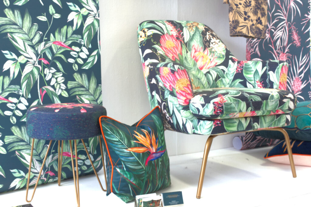 Display of printed textiles by Emily Statham