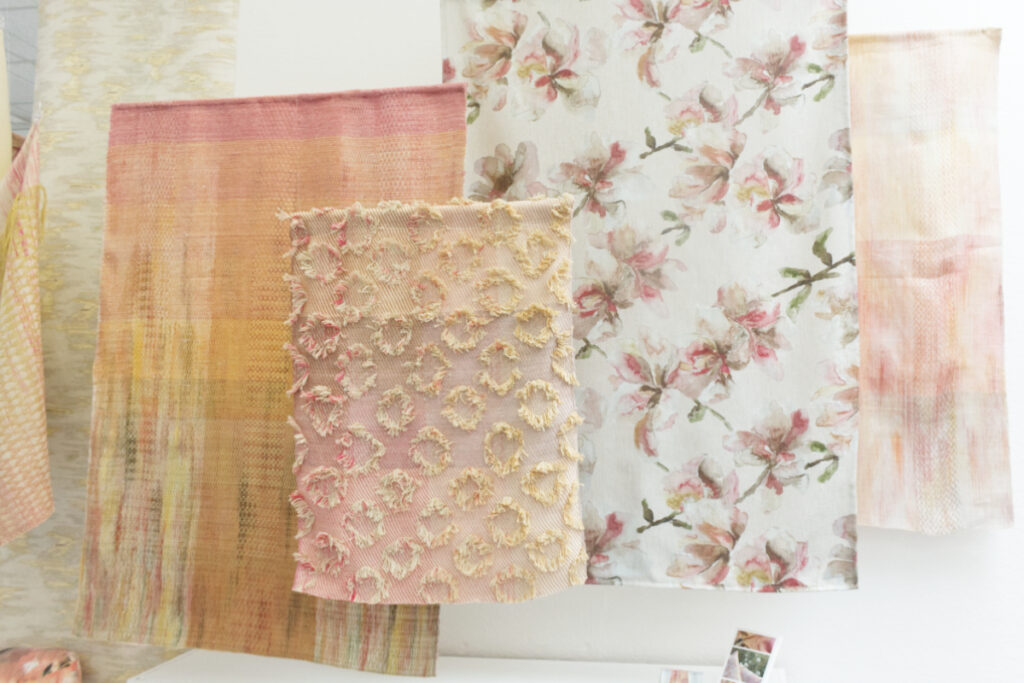 Display of woven textiles by Holly MItchell