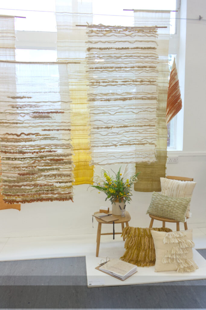 Display of woven textiles by Jade Kirk