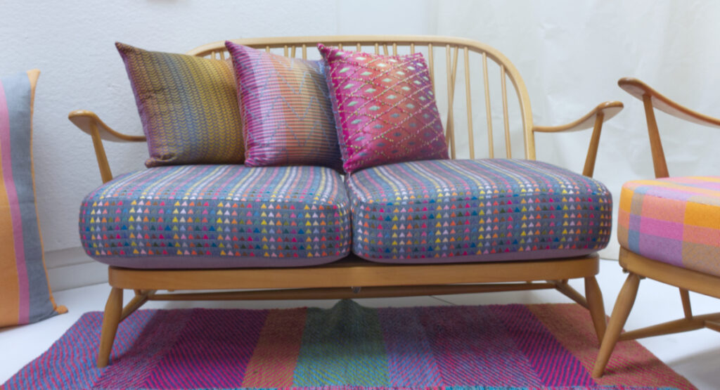 Display of woven textiles by Lydia Tagg
