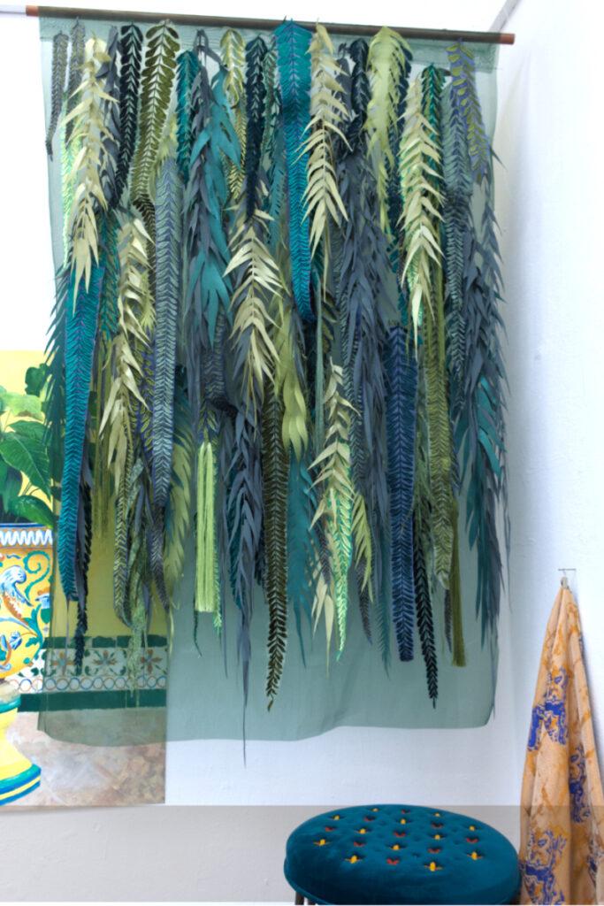 Display of multi-media textiles by Megan Hilliard
