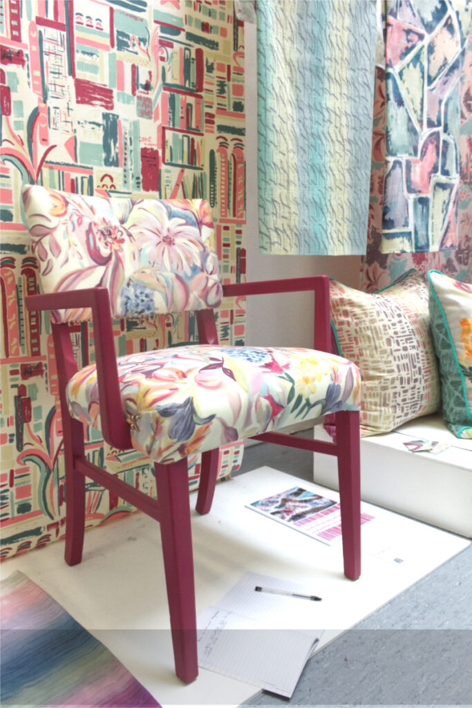 Display of printed textiles by Philippa Traynor