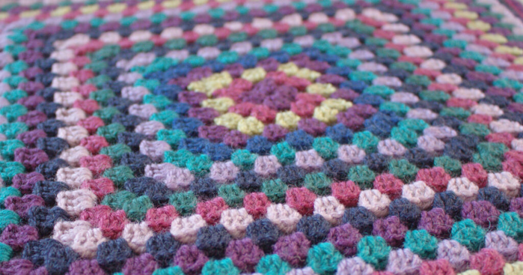 Colourful crochet granny square made in How to Crochet short courses