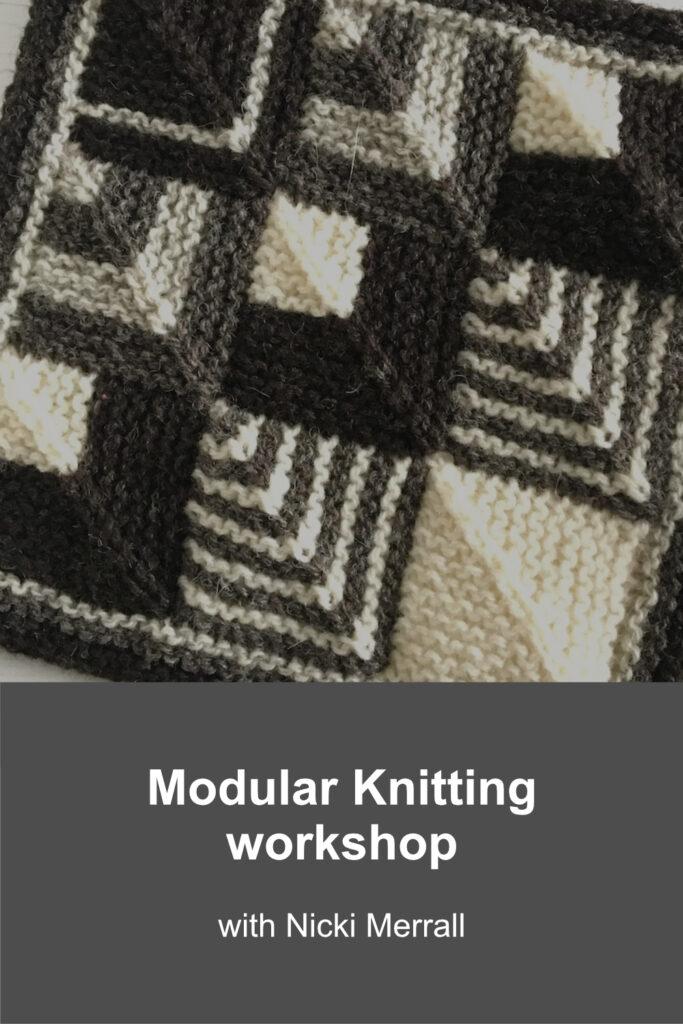 Black, white and grey sample from Modular Knitting workshop