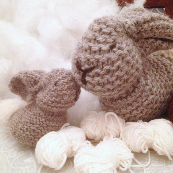 Knit bunnies from a garter stitch square