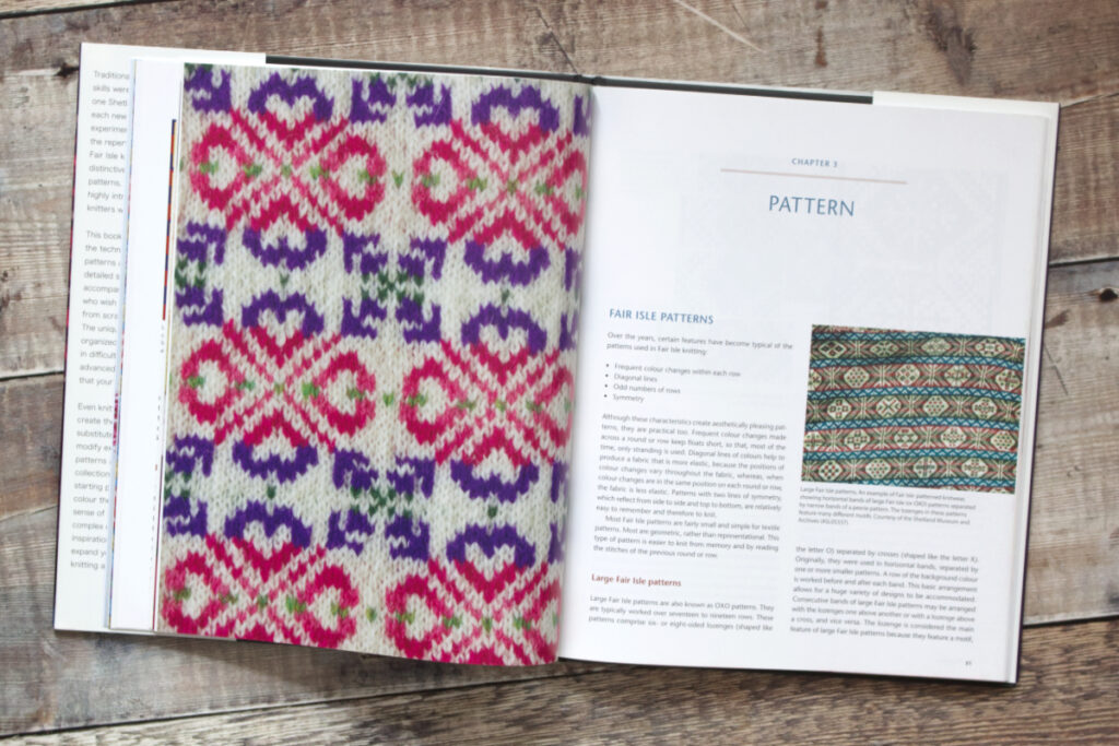 First two pages of Chapter 3 from Fair Isle Knitting and Design about patterns used in Fair Isle knitting