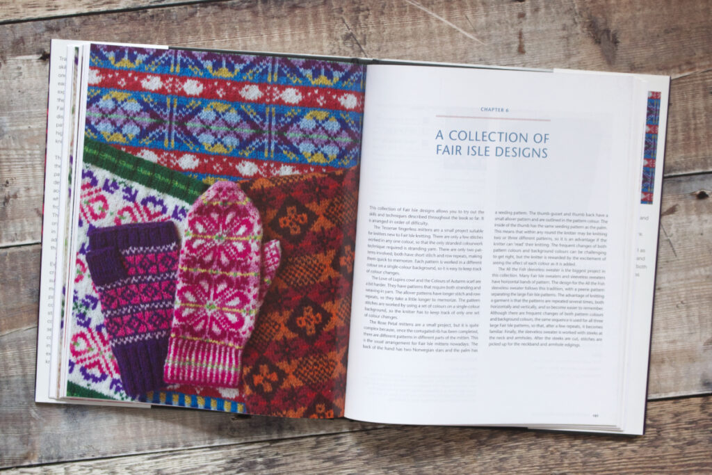 First two pages of Chapter 6 from Fair Isle Knitting and Design featuring new designs by Nicki Merrall