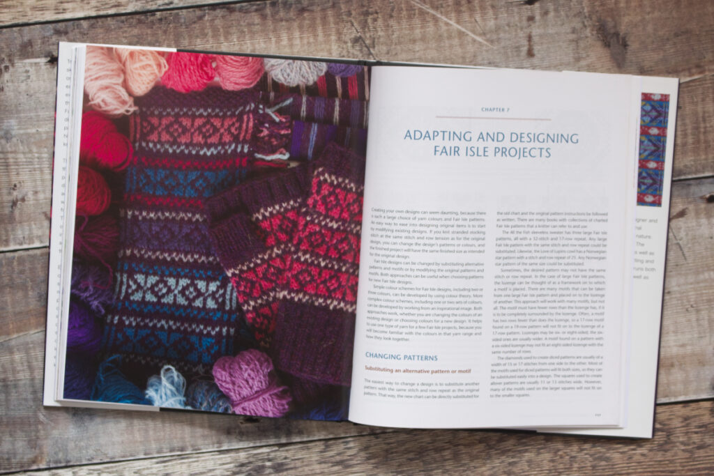 First two pages of Chapter 7 from Fair Isle Knitting and Design about adapting and designing Fair Isle projects