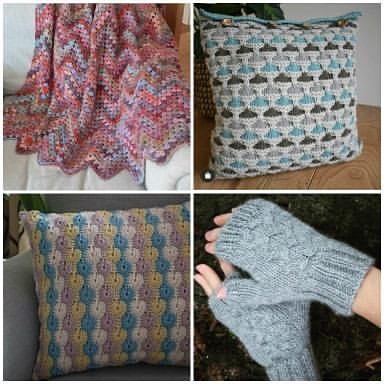 Crochet blanket, two knitted cushions and fingerless mittens