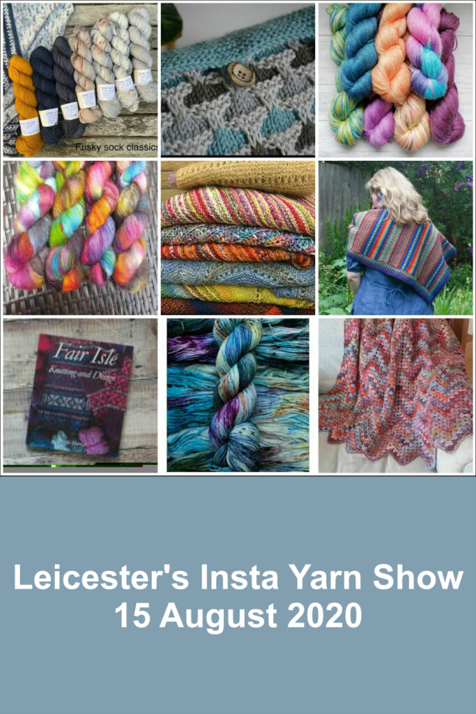 Hanks of hand-dyed yarn and pattern samples by the designers, yarn dyers and yarn shops taking part in Leicester's Insta Yarn Show