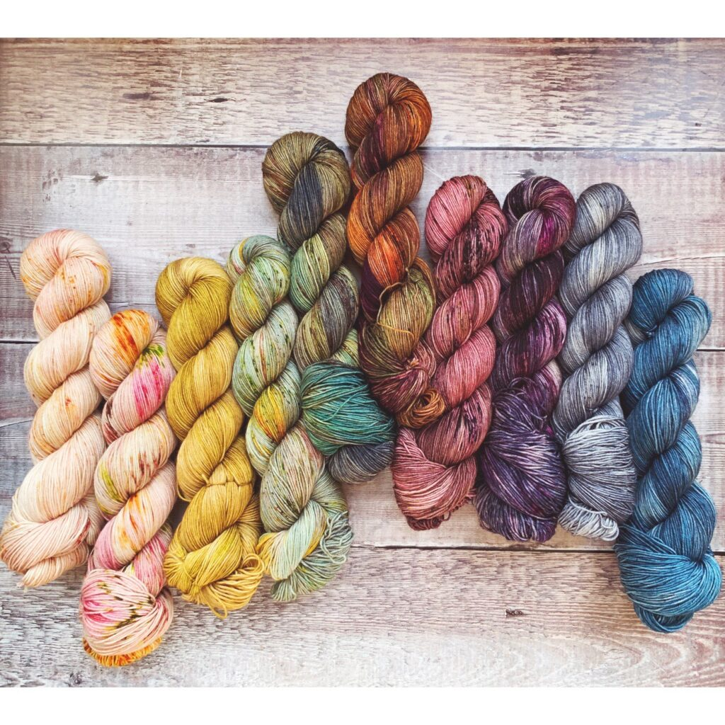 Ten hanks of hand-dyed yarn from Norah George Yarns