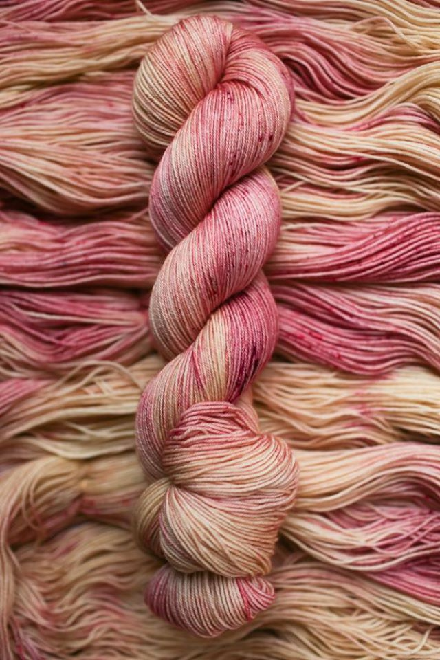 Hanks of hand-dyed yarn from Norah George Yarns