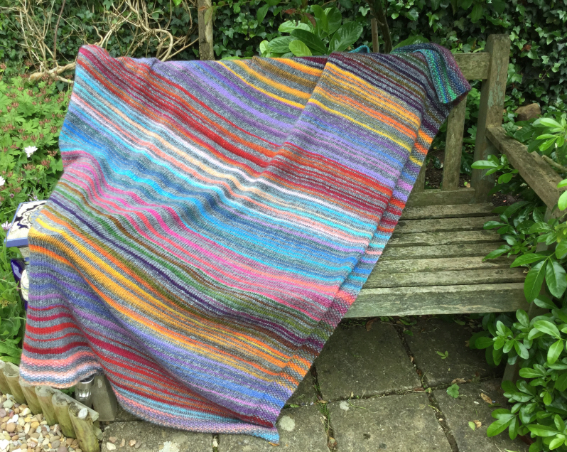 Stripy knitted blanket from Wool Zone