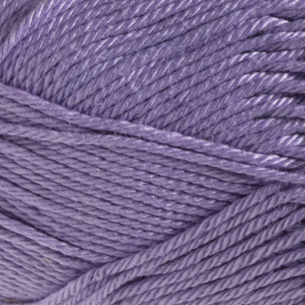 Close up of Quattro cotton yarn in shade 007 Lavender.