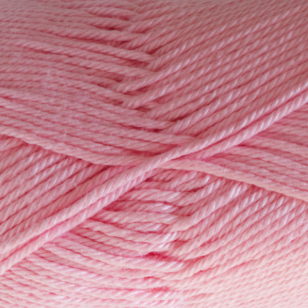 Close up of Quattro cotton yarn in shade 009 Pale Pink.