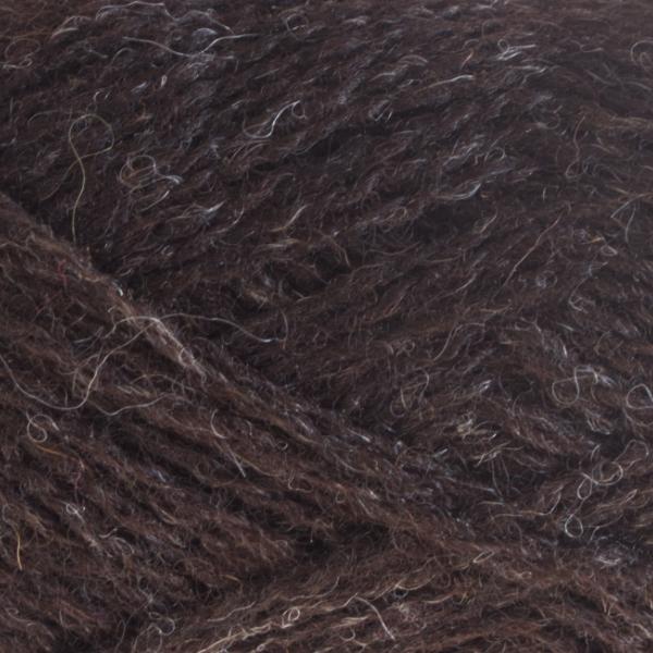 Close-up of a ball of Shetland Spindrift yarn in 0101 Shetland Black.