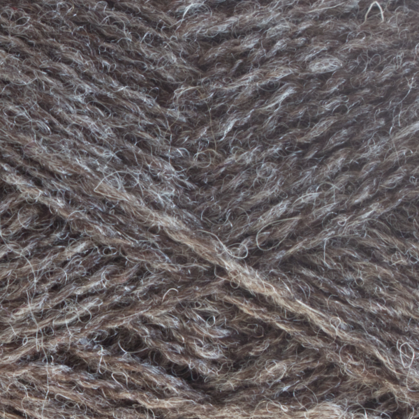 Close-up of a ball of Shetland Spindrift yarn in 0102 Shaela.