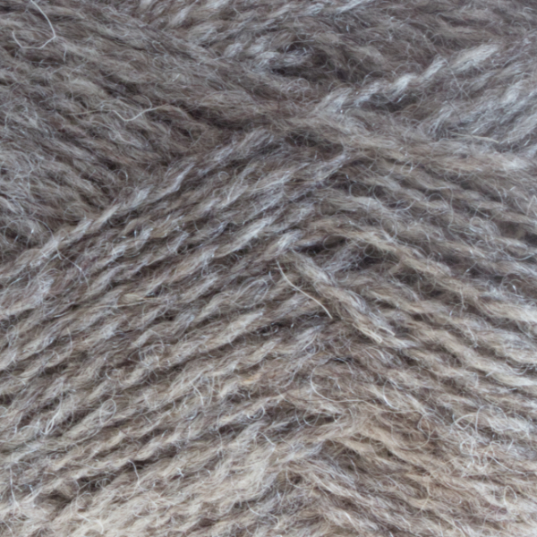 Close-up of a ball of Shetland Spindrift yarn in 0103 Sholmit.