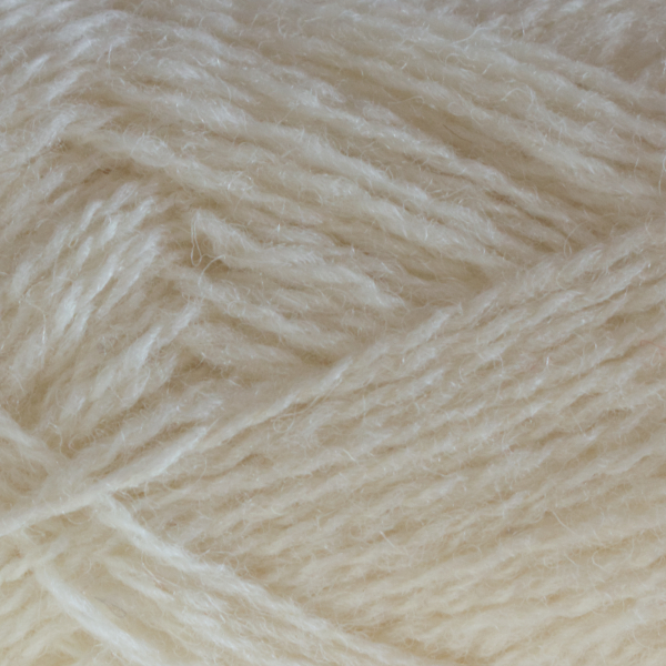 Close-up of a ball of Shetland Spindrift yarn in 0104 Natural White.