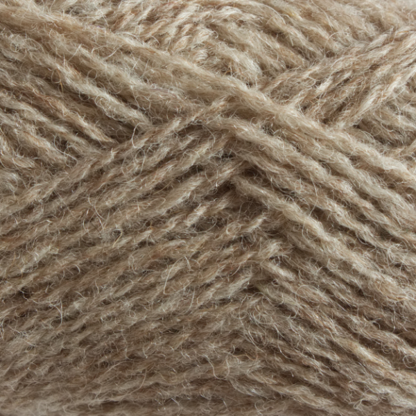 Close-up of a ball of Shetland Spindrift yarn in 0106 Mooskit.