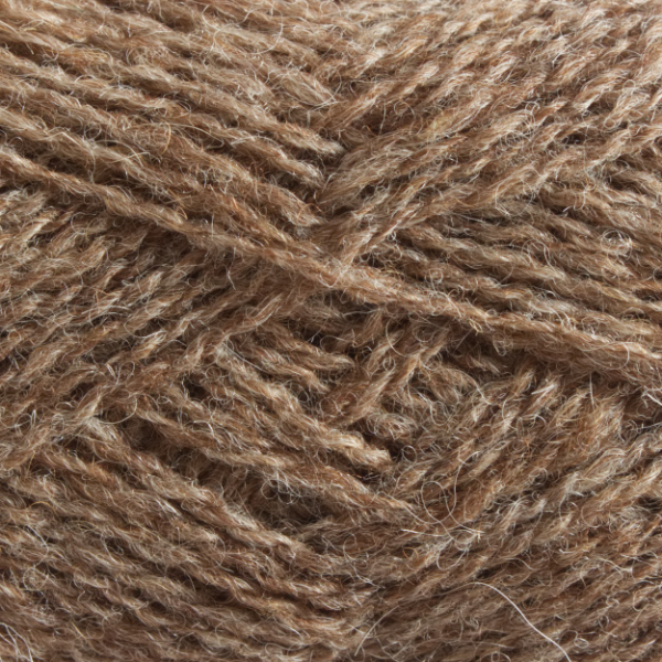 Close-up of a ball of Shetland Spindrift yarn in 0107 Mogit.