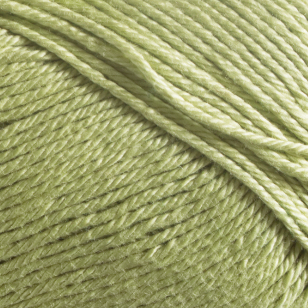 Close up of Quattro cotton yarn in shade 016 Pale Green.