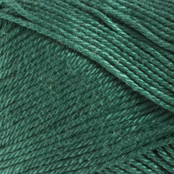 Close up of Quattro cotton yarn in shade 018 Deep Green.