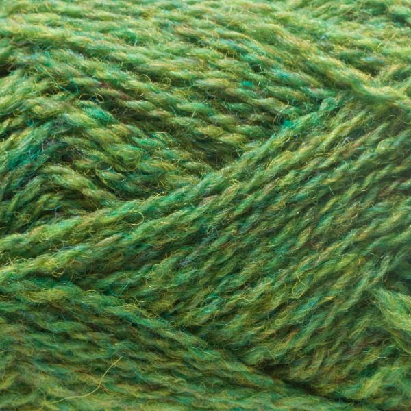 Close-up of a ball of Shetland Spindrift yarn in 0259 Leprechaun.
