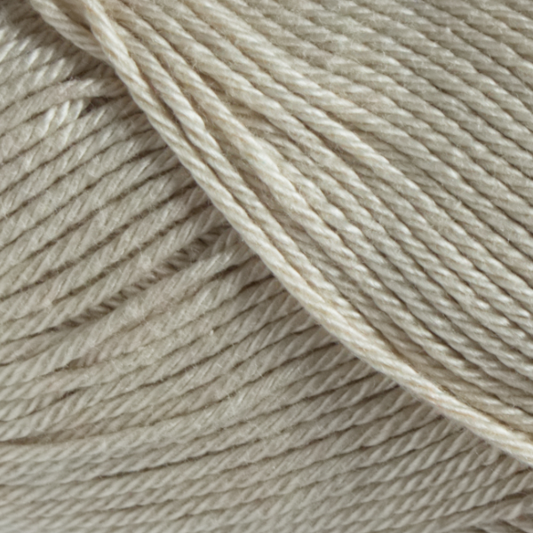 Close up of Quattro cotton yarn in shade 026 Ecru.