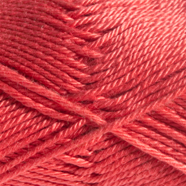 Close up of Quattro cotton yarn in shade 028 Coral.