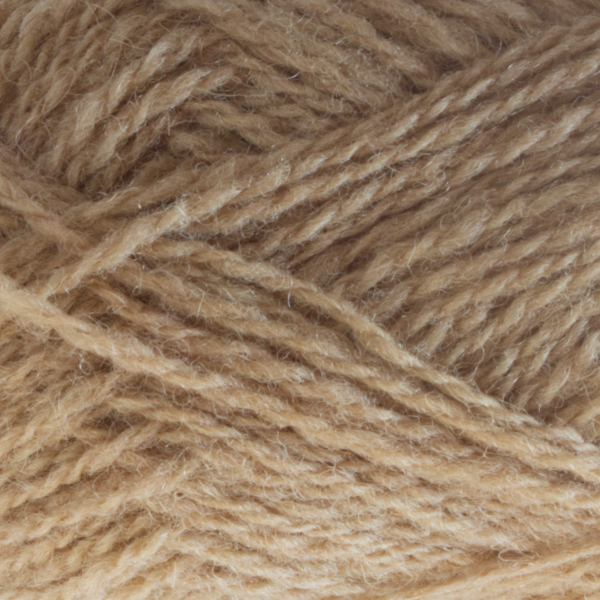 Close-up of a ball of Shetland Spindrift yarn in 0337 Oatmeal.