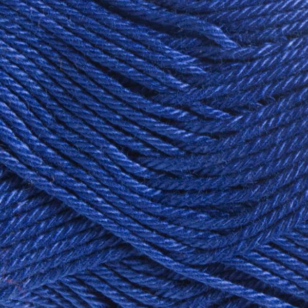 Close up of Quattro cotton yarn in shade 035 Marine Blue.