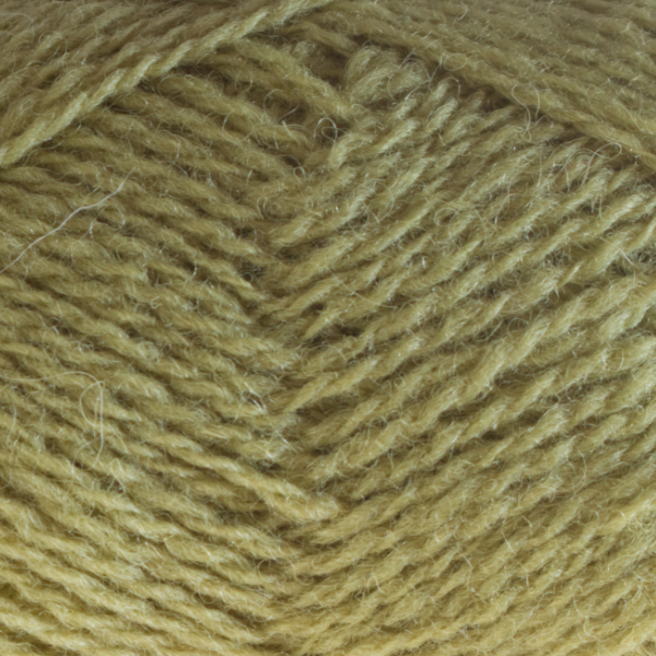 Close-up of a ball of Shetland Spindrift yarn in 0365 Chartreuse.