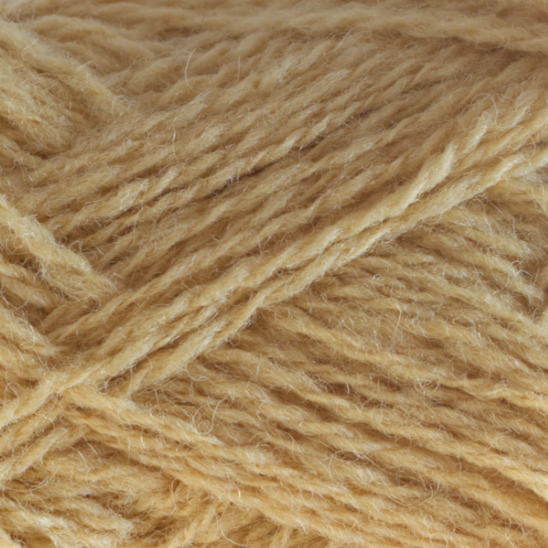 Close-up of a ball of Shetland Spindrift yarn in 0375 Flax.