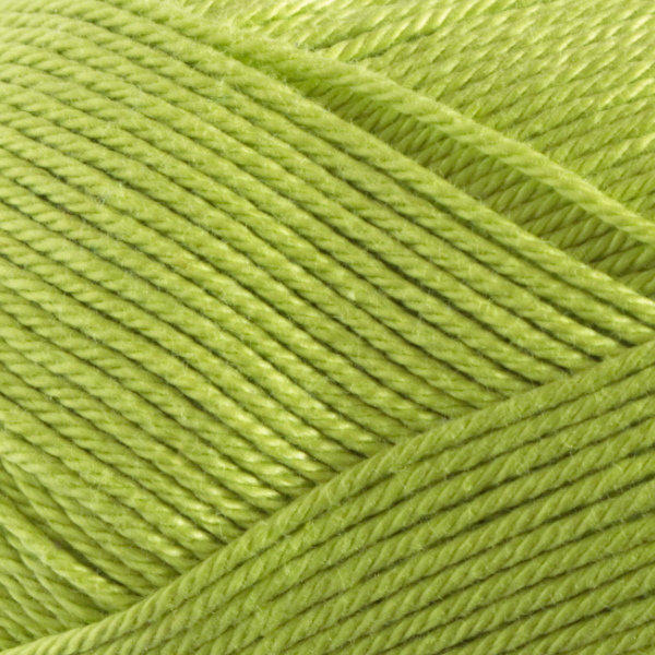 Close up of Quattro cotton yarn in shade 044 Lime Green.