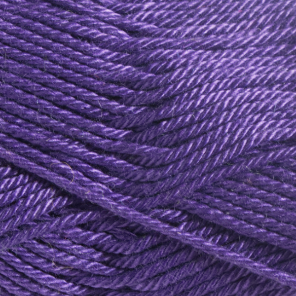 Close up of Quattro cotton yarn in shade 046 Violet.