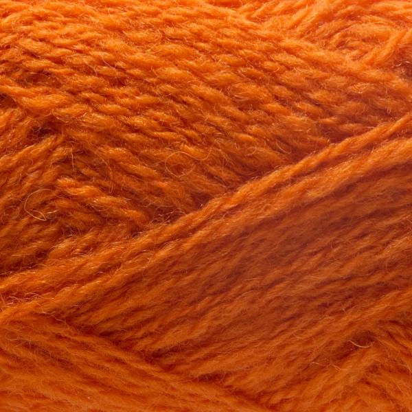 Close-up of a ball of Shetland Spindrift yarn in 0470 Pumpkin.