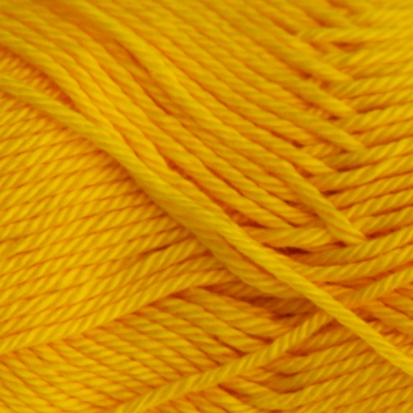 Close up of Quattro cotton yarn in shade 049 Yellow.