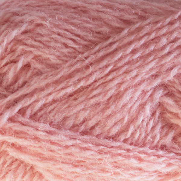 Close-up of a ball of Shetland Spindrift yarn in 0555 Blossom.