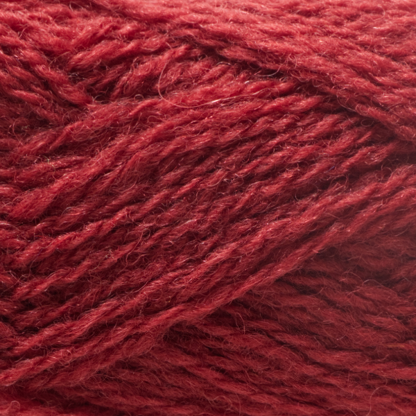 Close-up of a ball of Shetland Spindrift yarn in 0577 Chestnut.