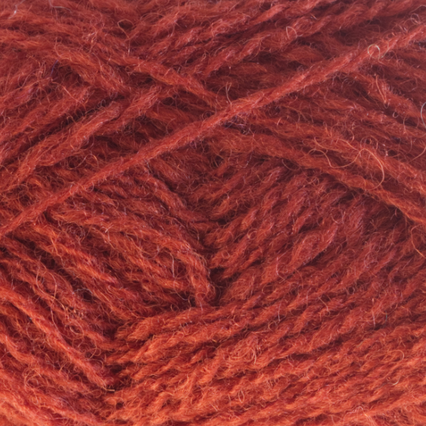 Close-up of a ball of Shetland Spindrift yarn in 0578 Rust.